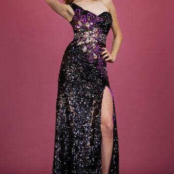 PRIMA C1313166 Black Purple Sequin One Shoulder Prom Dress