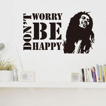 Motivation Quotes Don't Worry Be Happy Vinyl Wall Sticker for Bedroom Kids Room BOB MARLEY Musician Quote Wall Decal Mural D102