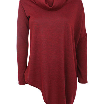 Sierra Asymmetric Cowl Neck Knitted Top in Burgundy Red