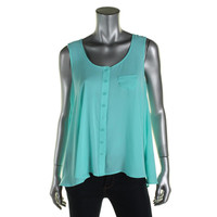 Style & Co. Womens Button-Down Sleeveless Casual Top