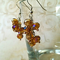The Ava- Golden Topaz Swarovski Crystal Cluster Earrings