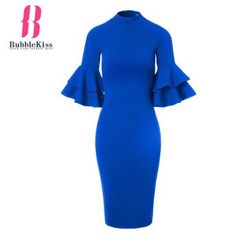 Vintage Flare Sleeve Solid Bodycon Dress Spring Summer Work Office Dress Women Half Sleeve Slim Midi Party Pencil Dresses