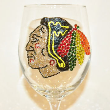 Chicago Blackhawks Rhinestone Wine Glass