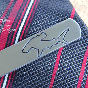 Hammer Head Shark Tie Clip, Engraved Tie CLip, Custom Tie Clip, Tie Bar, Cool Guy Gift, Hammer Head , Groomsman Tie Clip, Boyfriend Gift