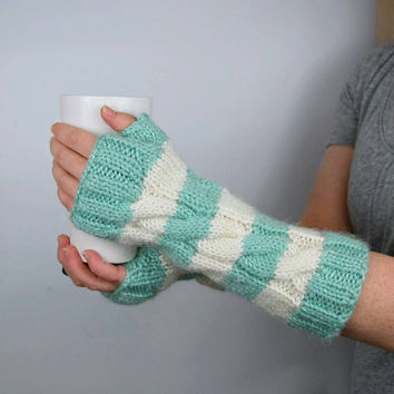 Striped Fingerless Gloves, Long Arm Warmers, Seafoam Green and White, Soft and Warm, Two Color Fingerless Mitts, Wrist Warmers, Gift Ideas