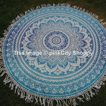 Round Mandala Tassel Beach Throw Roundie Yoga Mat Table Cloth Fringing Hippy Hippie Boho Gypsy Cotton Tablecloth Beach Towel wall hanging