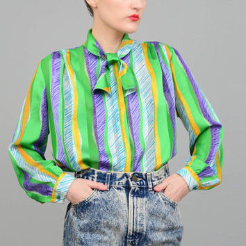 Vintage 80s Sheer Organza Painterly Striped Blouse 1980s Secretary Bow Neck Tie Long Sleeve Button Up Shirt Green Purple Yellow Small S