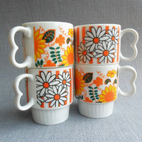 Retro Flowers Coffee Cups Orange Mis Matched Flower Power Mugs Set of 4 Striped Floral Tea Cups Groovy 60s Shabby Yellow Kitchen Decor