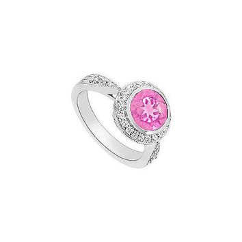 Created Pink Sapphire and Diamond Halo Engagement Ring : 14K White Gold - 2.30 CT TGW