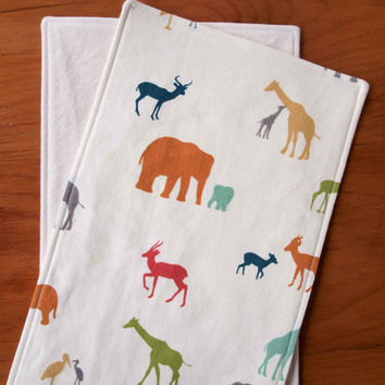 Organic Burp Cloths, Set of Two in THE TRIBE; Elephants, Gazelles, and Giraffes Baby Burp Cloths Gift Set by Organic Quilt Company
