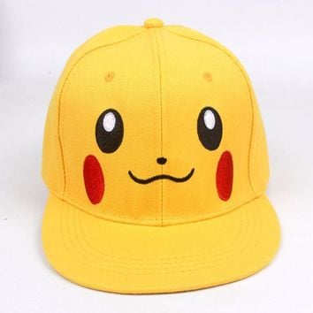 Japanese Anime Pikachu Pokemon Go Characters Printed Baseball Cap,Fashion Hiphop Snapback,Women Snap Back,Men Skateboard Hats