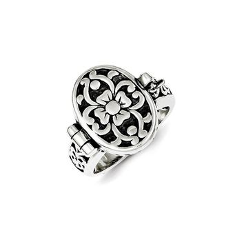 Sterling Silver Antique Locket Ring