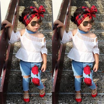 Newest Toddler Kids Girls Lace Tops Shirt Flower Jeans Denim Pants Outfits Set