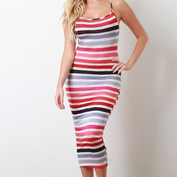 Stripe Print Cross-Back Maxi Dress