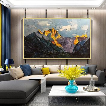 Snow mountains Peaks Oil painting on canvas Palette Knife mountain abstract art extra Large Texture Wall Art Pictures for living room Decor
