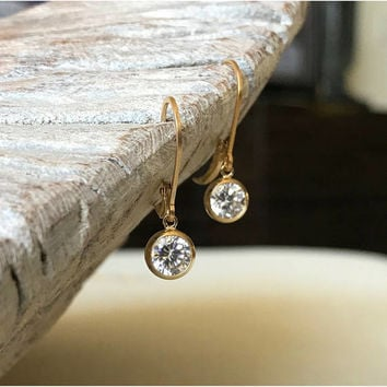 CZ Earrings, Gold CZ Earrings, Dainty Gold CZ Earrings, Dainty Earrings Gold, Cubic Zirconia Earrings