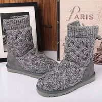 UGG female fashion wool snow boots wool shoes Grey
