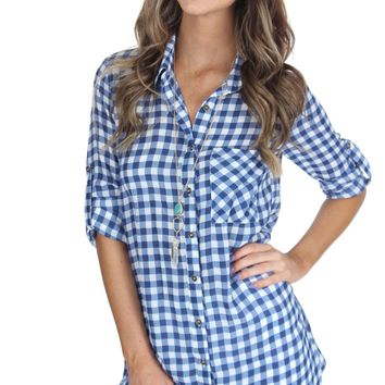 Long Gingham Blouse Blue