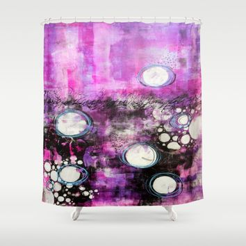 Magenta Abstract Shower Curtain by CeeZeeCee