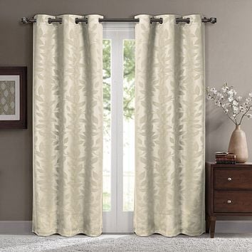 Beige 74x108 Virginia Blackout Grommet (Set of 2) Panels