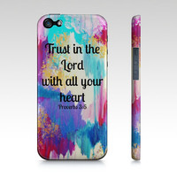 Trust in the Lord - iPhone 4 4S or 5 5S 5C Hard Case Bible Proverbs Ikat Christian Art Purple Pink Blue Abstract Scripture Biblical Verse