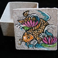 Tattoo Flash Koi Fish Lotus Flower Ring Box Trinket  Japanese Inspired Art