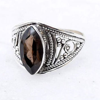 Smoky Quartz Stone ,silver ring, stone ring,92.5 sterling silver, Smoky Quartz ring, Natural  Smoky Quartz  stone Silver Ring, RNSLSQ301