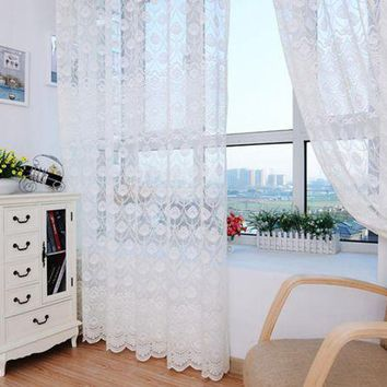 DCCKU7Q Super Deal  Feather Tulle Door Window Curtain Drape Panel Sheer Scarf Valances XT