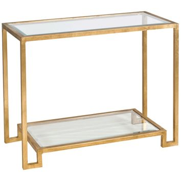 Lyle Console Table with Beveled Glass Shelves | Gold