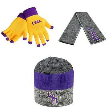 reputable site 9afae 85735 Licensed NCAA LSU Tigers Sunset Beanie Hat Glove Solid Knit And