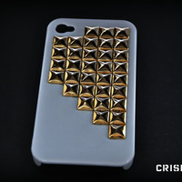 Iphone 4 / 4s studded whit case / inlcudes screen by CRISION