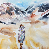 wanderer . giclee fine art print of watercolor painting