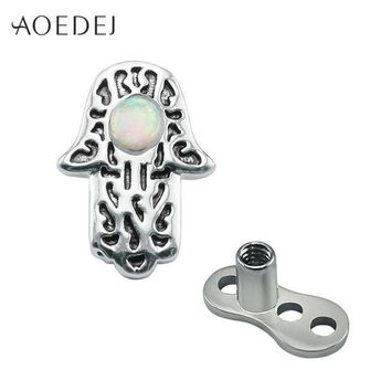 ac ICIKO2Q AOEDEJ Hamsa Fatima Hand Dermal Anchor Piercing Jewelry Surgical Steel Fire Opal Natural Stone Skin Retainers Hide It Jewelry