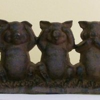 Speak No Evil, See No Evil, Hear No Evil Cast Iron Pigs Doorstop