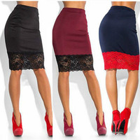 Women's Formal Stretch High Waist Mid Length Lace Pencil Skirt