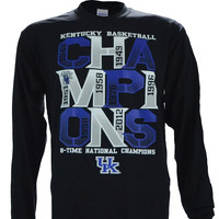 University of Kentucky 8 Time Champ on a Long Sleeve Black T