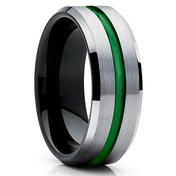 Green Tungsten Ring - Green Wedding Band - Black Tungsten Ring - Grey