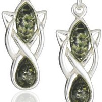 Sterling Silver Green Amber Celtic Earrings