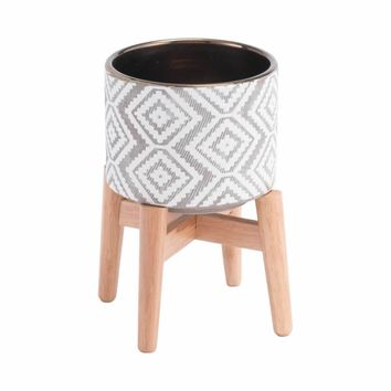 Llano Small Planter Gray & White