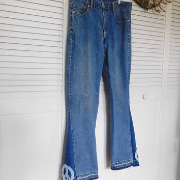 Levi 550 Bell Bottom Upcycled Jeans Recycled Hippie Clothes Peace Sign Patch Patched Patchwork Super Flare Denim Bellbottom Pants Woodstock