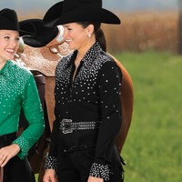 Ladies' Rhinestone Time Black Blouse - Women's - Western Show Clothing - Tack