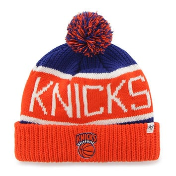 New York Knicks - Logo Calgary Orange and Royal Pom Pom Beanie