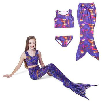 DCCKH6B 2017 Children Girls Mermaid Tail Costume Cosplay Color Baby Kid Mermaid Tails Bikini Swimming Mermaid Swimsuit Set M018