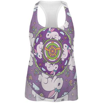 CREYCY8 Mandala Trippy Stained Glass Easter Bunny All Over Womens Work Out Tank Top