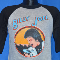 1982 Billy Joel Tour Behind the Nylon Curtain Black and Gray 3/4 Raglan Sleeve Baseball Jersey t-shirt Medium