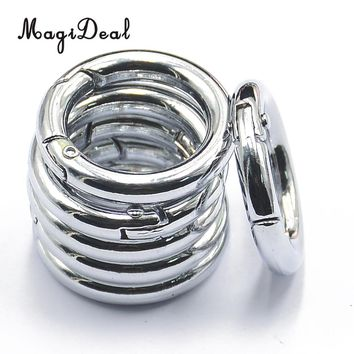 Outdoor Camping Hiking 6pcs Silver alloy Round Spring Snap Hooks clip Handbag Purse Shoulder Strap Key Chains Small Dog Leashes