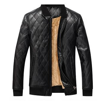 Men New Men's Faux Leather Jackets Fashion Motorcycle Jacket Overcoat