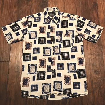 Vintage Vintage 90s Geometric Square Print Cream / Blue Polyester Button Up Shirt Mens Size Medium Size M $30