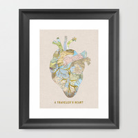 A Traveler's Heart Framed Art Print by Bianca Green