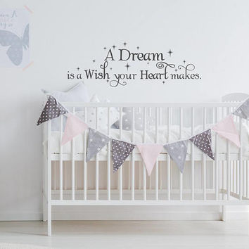 A Dream Is A Wish Your Heart Makes Cinderella Quotes, Cinderella Wall Decal Quote, Fairy Wall Decal Girls Baby Room Nursery Homy Decor K110